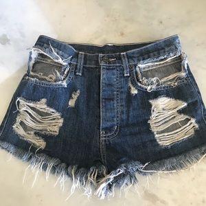 CARMAR Distressed Jean Shorts